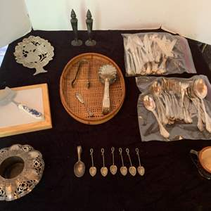 Lot #64 - Silverplate Antique Spoons, Flatwar and , Serving Pieces