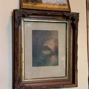 Lot #67 - Vintage Wood Framed Art Work