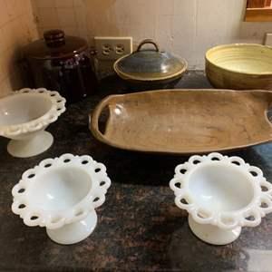Lot #77 - White Serving Pieces, Pottery Bowls, West Bend Bean Pot