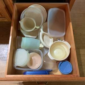 Lot #82 - Kitchen Drawer Full of Tupperware and Microwave Safe Dishes