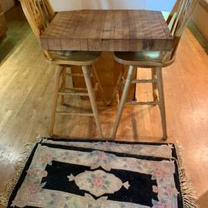 Lot #85 - Two Bar Stool Chairs and Two Floor Rugs