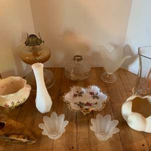 Lot #87 - Myrtlewood, Glass Vases, and Oil Lamp