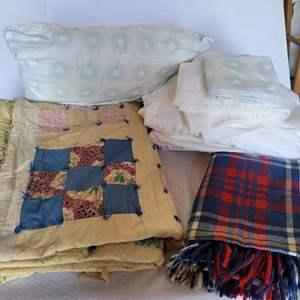 Lot #91 - Vintage Home Fashioned Quilt, Plaid Blanket, Flannel Sheets