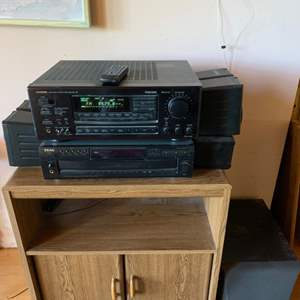 Lot #93 - ONKYO Receiver, TEAC 5 Disc Changer and Kenwood Surround Sound Speakers