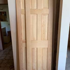 Lot #99 - Two Natural Finish Wood Interior Doors