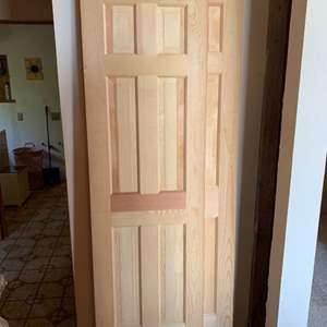 Lot #101 - Six Panel Natural Finish Wood Interior Doors