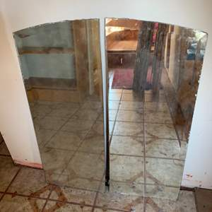 Lot #105 - Two Vintage Wall Mirrors with Curved Top
