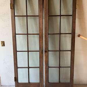 Lot #107 - Two Vintage Interior Doors, 10 Glass Panes Each
