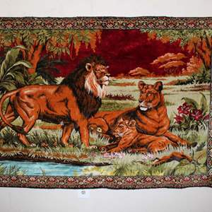 Lot #5 - Vintage Jungle Lions Wall Tapestry/Carpet Measures 71x48