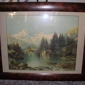 Lot #7 - Vintage Framed Mountain Scene Print