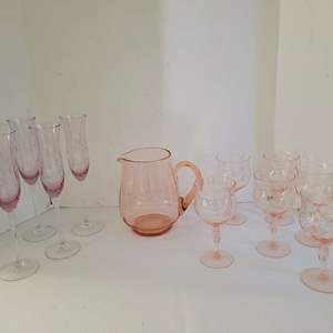 Lot #8 - Pretty Fluted Champagne Glasses and Pink Depression Pitcher and 6 Glass Set