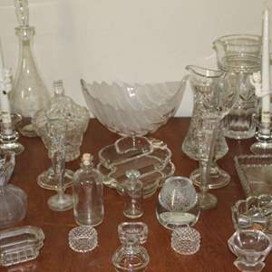Lot #12 - Crystal and Glass Bowls, Pitcher, Vases, Candle Holders and More