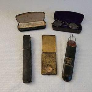 Lot #14 - Antique Ansonia Sunwatch Compass, Antique Eyeglasses with Cases and Made in England Razor
