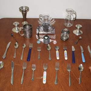 Lot #18 - Vintage Silver Plate Candle Holders, Silverware, Baby Cup, Vase and More