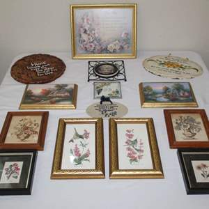 Lot #19 - Framed Floral Prints and Plaques
