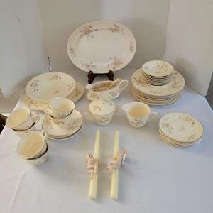 Lot #21 - Crown Potteries Co. USA Dinnerware (Not Complete) and Vintage Angel Candle Decor