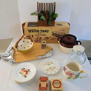 Lot #23 - Kitchen Decor and Useful Items Including Vintage Teeter-Tray