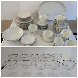 Lot #24 - Mikasa Grace-Ine China Service for 12 and Silver Rimmed Etched Glasses