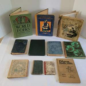 Lot #35 - Antique Books: Mother Goose 1906, Primers, Daddy Longlegs, 1912, Beatrix Potter, Dotty Dimple & More