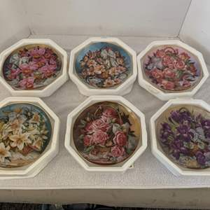 Lot #40 - Franklin Mint Katharine Austen Signed and Numbered Collector Floral Plates