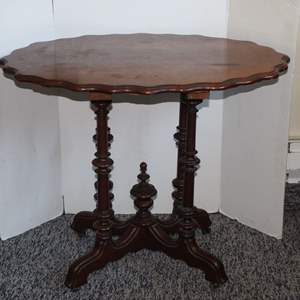 Lot #43 - Antique Side Table with Pie Crust Top and Beautifully Turned Legs, on Casters