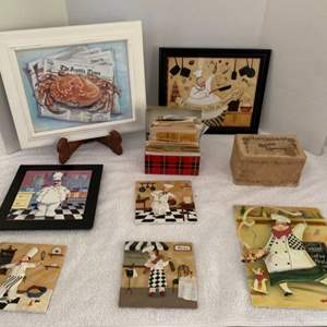 Lot #48 - Italian Motif Cooks in Metal and Tile, Vintage Recipe Box, Framed Seattle Times Print