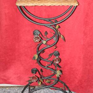 Lot #54 - Wicker and Metal Floral Theme Plant Stand