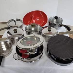 Lot #59 - Pots & Pans: Farberware, Cooks Club, Revere Ware and Pyrex Baking Pan, Chip & Dip+