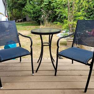 Lot #72 - Patio Bistro Set for Two, Mesh Chairs, Metal Table