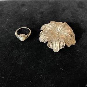 Lot # 227 - Beautiful Sterling Silver Pin * Sterling Silver Pearl Ring