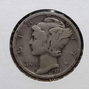 "Lot 33 - 1928 Silver Winged Liberty ""Mercury"" Dime"