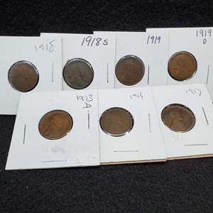 Lot 54 - Six Lincoln Wheat Cents, 1913 D-1919 D, no duplicates