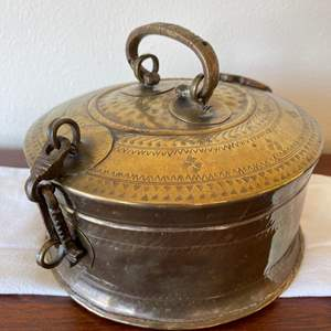 Lot # 11 - Large Antique Round Decorative Brass Vessel Pot with Hinged Lid for Storage