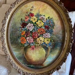 Lot # 129 - Stunning La Harrington Floral Design Oil on Canvas Painting
