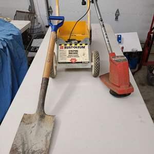 Lot # 428 - Rustoleum Striping Machine * Weed Trimmer * Shovel