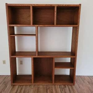 Lot #1 - Oak Sturdy Bookcase or Media Cabinet, Measures 60x16.5x72H
