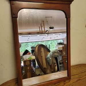 Lot #3 - Vintage Warm Tone Wood Mirror Measures 20x30