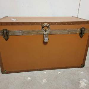Lot #7 - Cedar Lined Chest with Key, Brass Corners, Contents Included