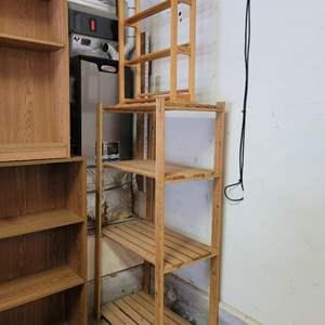 Lot #10 - Slatted Wood Storage Rack and Media Rack
