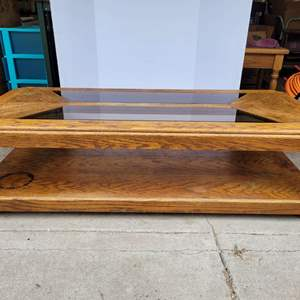 Lot #14 - Vintage Oak and Glass Rectangular Coffee Table