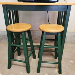 Lot #16 - Tile Top Bar Height Table and Two Stools