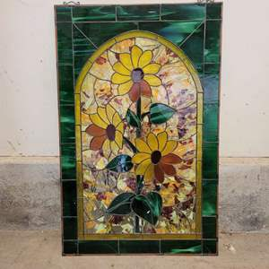 Lot #18 - Beautiful Sunflower Stained Glass Wall Hanging 33x21