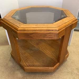 Lot #19 - Retro Oak Octagon Oak and Glass Side Table