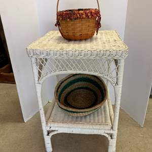 Lot #21 - Vintage Two Tier Wicker Table and Longaberger Basket and Woven Basket