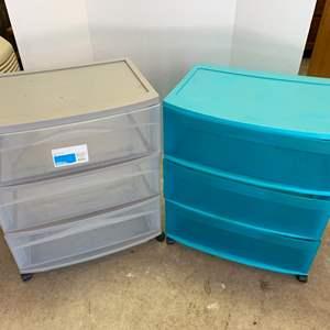 Lot #23 - Two Sterlite Wide 3-Drawer Storage Carts