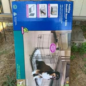 "Lot #24 - Folding Double Door 36"" Wire Crate for Intermediate Size Pet"