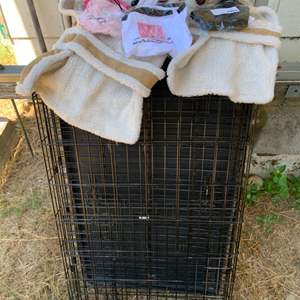Lot #25 - Wire Pet Crate and New Dog Shirts & Coat