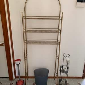 Lot #29 - Two Bathroom Storage Racks, Wastebasket and Plunger