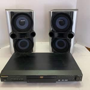 Lot #47 - Panasonic DVD/CD Player Model RV32 & Two Sony Speakers Model SS-EC77