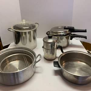 Lot #58 - Pots, Strainers, Revere Ware and New Innova Pressure Cooker